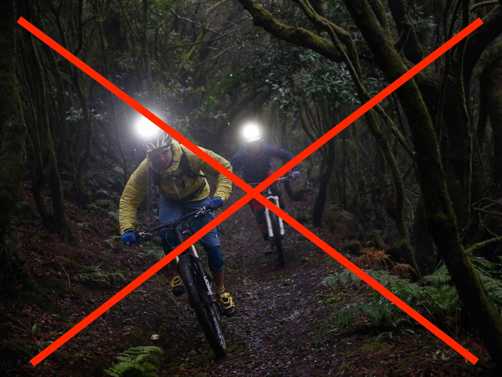 Forbidden riding on the trails in the dark!